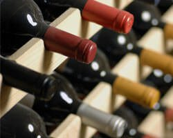 A rack of wine bottles