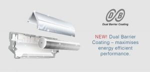 A graphic showing Dual Barrel Coating